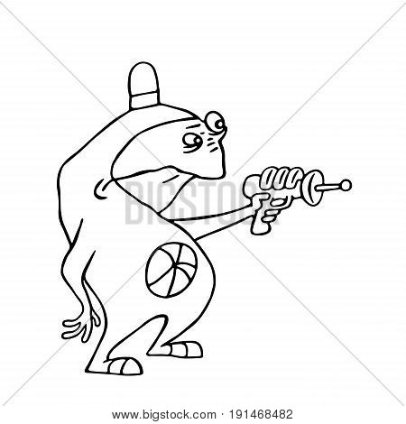 Cute space alien with blaster in hand. Vector illustration. Funny cartoon imaginary character.