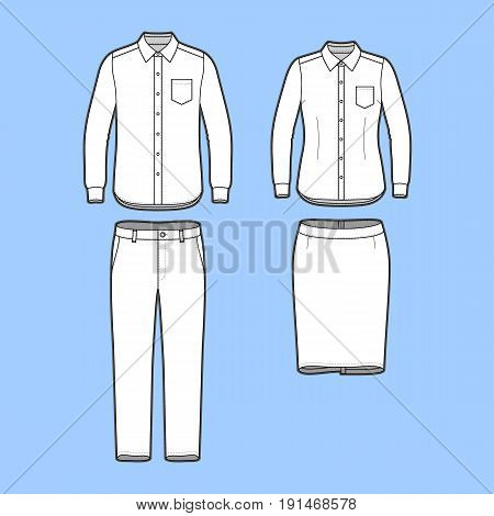 Blank Mens and Womens clothing set in white colors. Blank template of long sleeve shirts, pants and skirt in front view. Casual style. Workwear suits. Vector illustration for your fashion design.