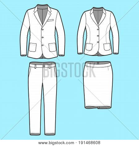 Blank Mens and Womens clothing set in white colors. Blank template of classic blazers, pants and skirt in front view. Casual style. Workwear suits. Vector illustration for your fashion design.