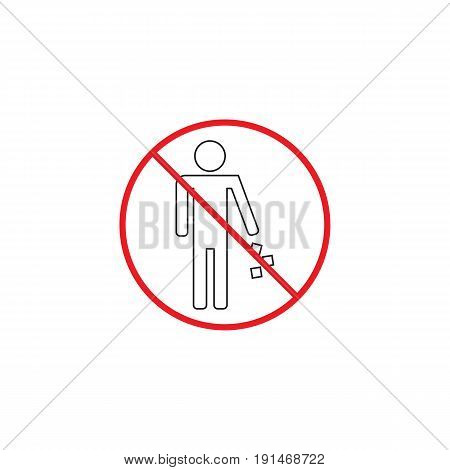 No littering line icon, no trash red prohibited sign, vector graphics, a linear color pattern on a white background, eps 10.