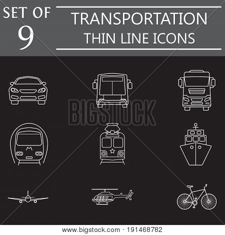 transport line icon set, public transportation movement symbols collection, vector sketches, logo illustrations, linear signs isolated on black background, eps 10.