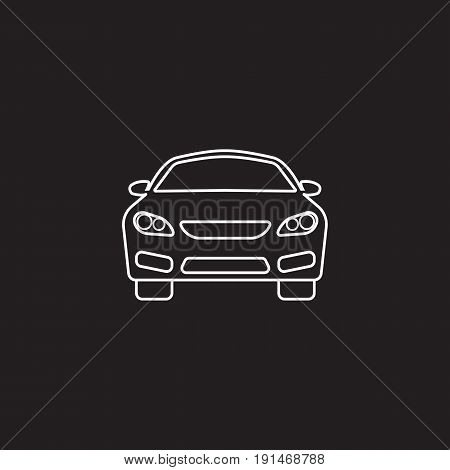 car icon, automobile symbol vector graphics, a linear pattern on a black background, eps 10.