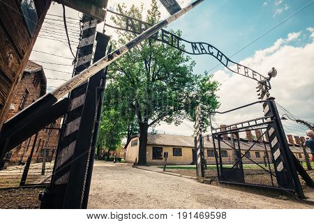 Oswiecim Poland - June 14 2017: Auschwitz I concentration camp main entrance gate with