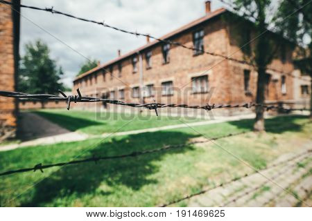 Oswiecim Poland - June 14 2017: Auschwitz I concentration camp barracks on June 14 2017 in Oswiecim Poland.
