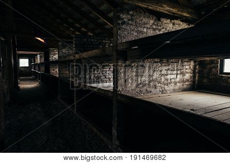 Oswiecim Poland - June 14 2017: Auschwitz-Birkenau concentration camp barracks interior on June 14 2017 in Oswiecim Poland.