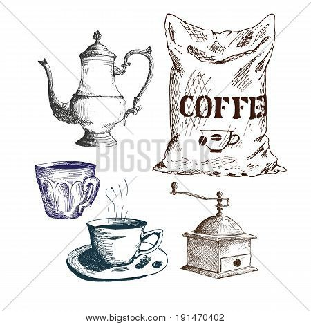 Coffee set. Collection of hand drawn sketches in engraving style. Coffeepot ibrik coffee grinder bag of coffee. Vintage vector elements isolated on white background
