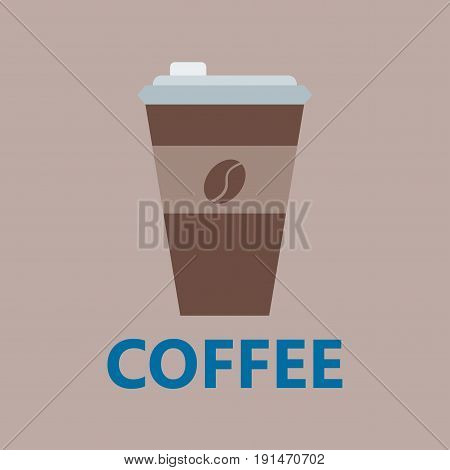 Take-out coffee in thermo cup isolated disposable sign icon with logo and fast food portable beverage vending. Espresso cappuccino latte container vector.