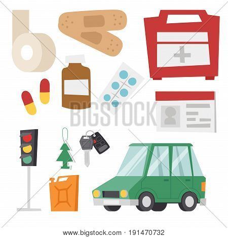 Auto transport motorist icons symbols and equipment symbols service car driver tools high detailed vector illustration set. Prohibitive signs transmission garage change vehicle automobile mechanic.
