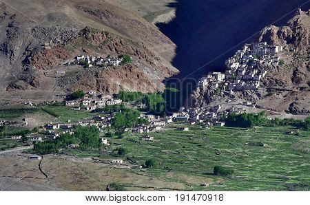 The rocky Buddhist city of Karcha Monastery in Zanskar: ancient white gong buildings are located on a steep at the foot of the cliff there are green fields and a village the Himalayas India.