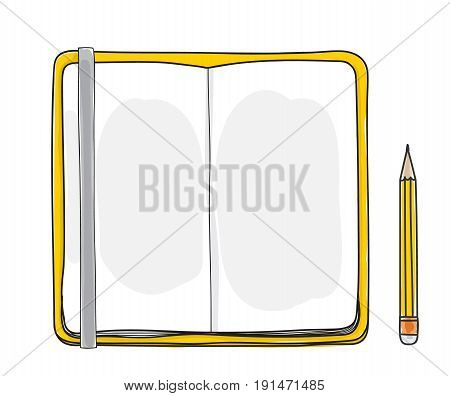 yellow notebook and pencil hand drawn cute vector illustration