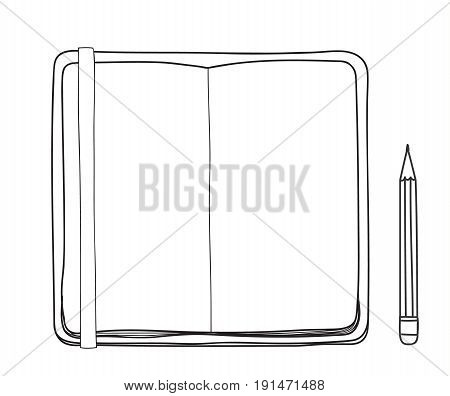 yellow notebook and pencil hand drawn cute vector line art illustration