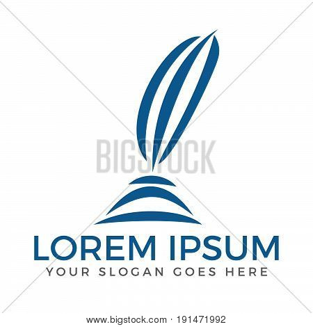 Feather pen Logo template Vector illustration design.