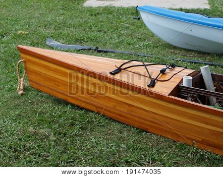 Home made Kayak in cedar wood. More of  hybrid where boater can stand up like a SUP or sit.