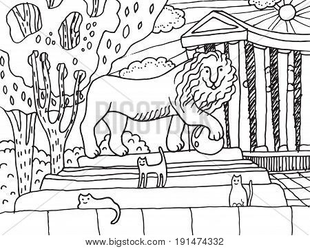 Monument with lion and cats on him in Odessa. City landscape with colonnade - vector coloring page for adults. Graphic illustration for coloring book card poster and design