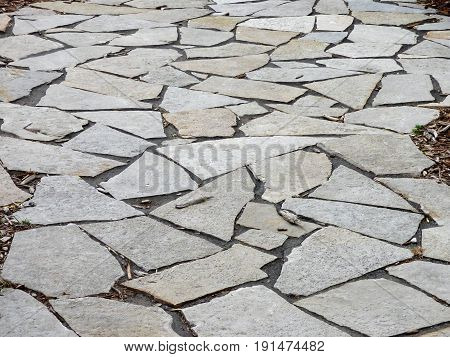 A stone pathway with irregular shaped flat stones.