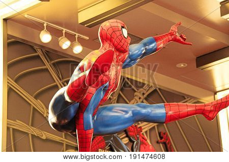 OSAKA, JAPAN - JAN 11, 2016 : Photo of the Amazing Adventure of Spider Man, one of the most famous attraction rides at Universal Studio, Osaka, Japan.