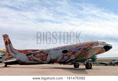 Tucson, Arizona, USA: February 19, 2012 - Pima Air and Space Museum, Painted Painted Airplane