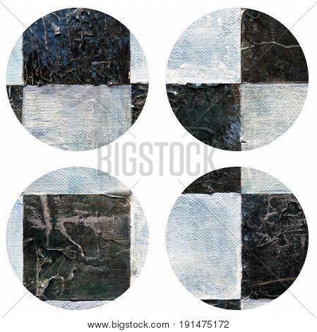 Abstract hand painted acrylic circles texture in white and black color. Round design element isolated on white background. Detail or closeup brush stroke pattern.