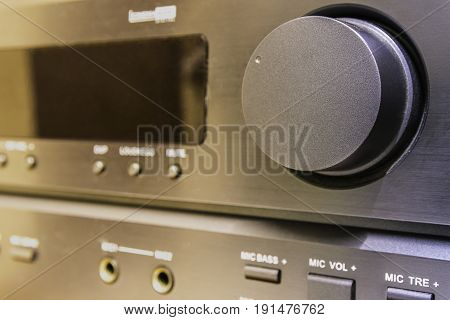 Close up volume stereo amplifier home entertainment.