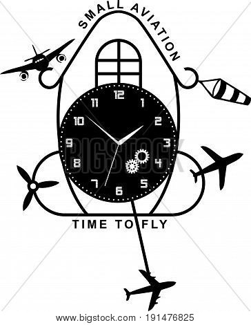 Ancient wall clock - a symbol of the time to fly a small aircraft