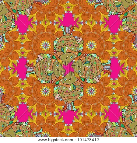Tropical seamless pattern with many pink abstract flowers. Varicolored vector seamless illustration.