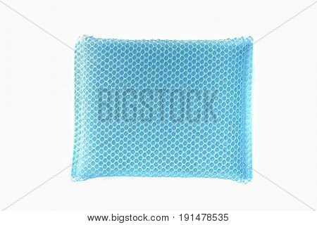 Sponges, blue on white background /Blue sponge to wash dishes placed on a white background.