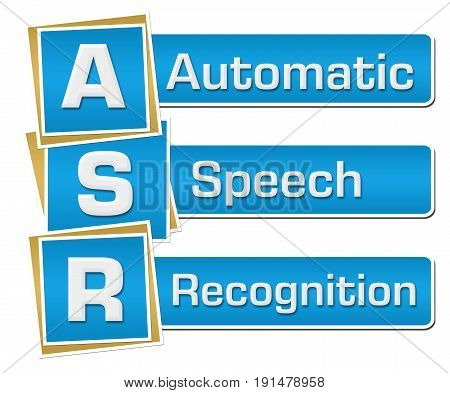 ASR - Automatic Speech Recognition text written over blue background.