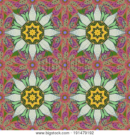 Seamless pattern with Mandalas. Vector ornaments background. Seamless pattern with abstract ornament.
