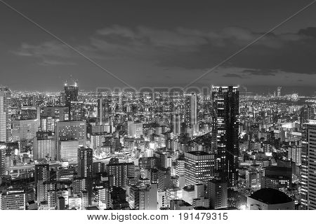 Black and White Osaka central busienss downtown Japan