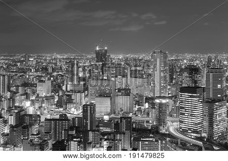 Black and White Osaka city business downtown night view Japan