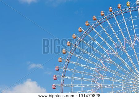 Path of large ferris whell with clear bule sky background