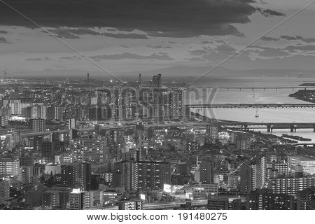 Black and White Top view Osaka city downtown skyline cityscape downtown background Japan
