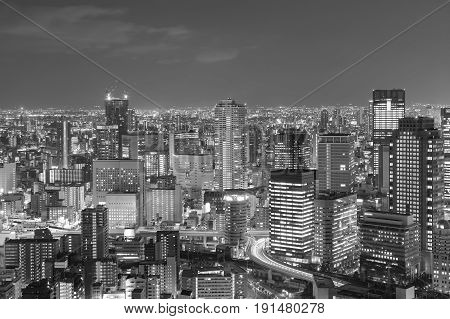 Black and White Central business downtown citysacpe background Osaka Japan