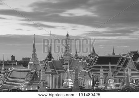 Black and White Bangkok Thailand Greand palace the buddhism religious tourist landmark