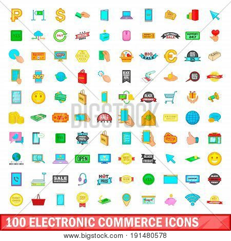 100 electronic commerce icons set in cartoon style for any design vector illustration