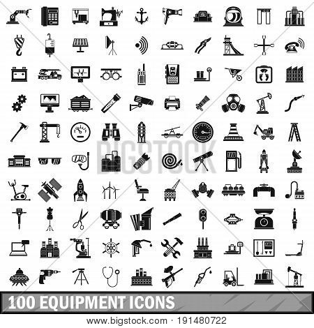 100 equipment icons set in simple style for any design vector illustration