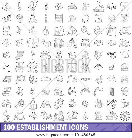 100 establishment icons set in outline style for any design vector illustration