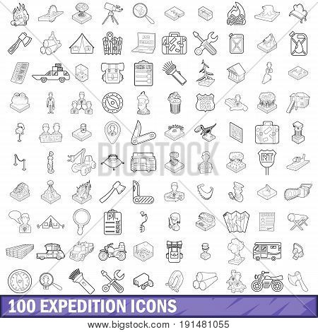 100 expedition icons set in outline style for any design vector illustration