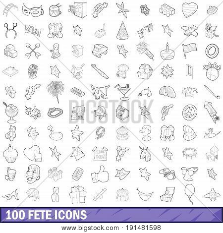 100 fete icons set in outline style for any design vector illustration