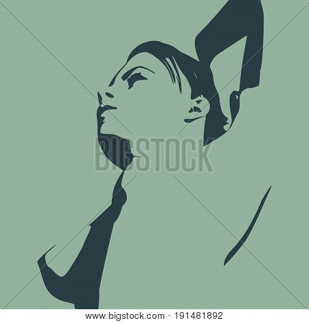 Naked young woman. Vector illustration. Female torso sketch