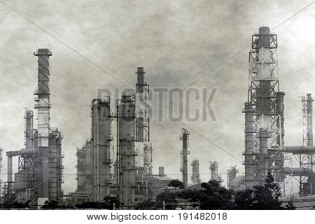 Heavy smog above a large industrial plant for the petrochemical industry