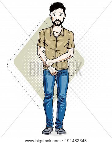 Handsome brunet young man standing. Vector illustration of man with beard and whiskers wearing stylish casual clothes.