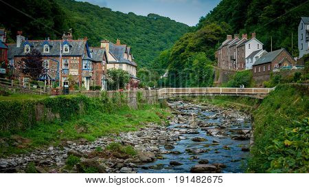 Lynmouth UK - July 27 2016: East Lyn River at Lynmouth