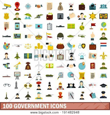100 government icons set in flat style for any design vector illustration