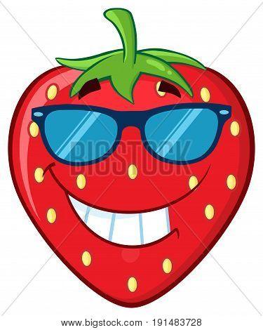 Smiling Strawberry Fruit Cartoon Mascot Character. Illustration Isolated On White Background
