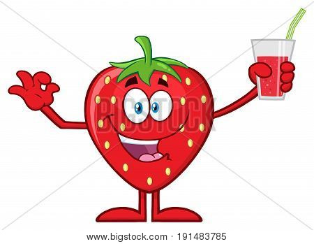 Happy Strawberry Fruit Cartoon Mascot Character Presenting And Holding Up A Glass Of Juice. Illustration Isolated On White Background