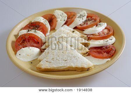 Mozarella, Tomatoes And Toast