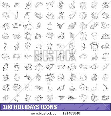 100 holidays icons set in outline style for any design vector illustration