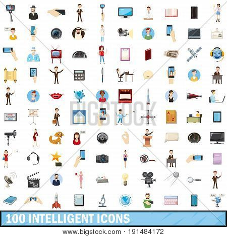 100 intelligent icons set in cartoon style for any design vector illustration