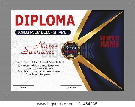 Template diploma or certificate. Elegant design. Vector illustration.